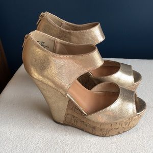 Madden Girl gold cork wedge peep toe sandals 6.5